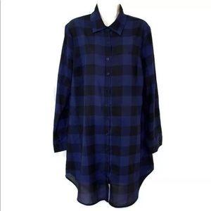BB Dakota Keenan Black & Blue Plaid Shirt Dress